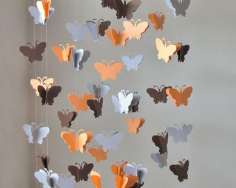 Butterfly Chandelier Mobile in Peach, Brown and Gray