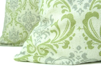 Throw Pillow Covers 18x18 Decorative Throw pillow Covers Gray Green Pillows Damask Pillows Set of TWO Printed fabric both sides