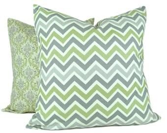 Decorative Throw Pillows Gray Green Pillows Gray Pillow Green Pillow Throw Pillow Covers 20x20 TWO Printed Fabric both sides Chevron Pillow