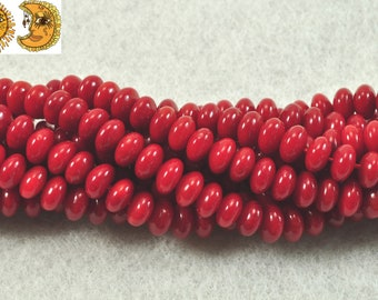 15 inch strand of Red Bamboo Coral smooth rondelle spacer beads,roundel bead,abacus bead,wheel bead 4x6 mm