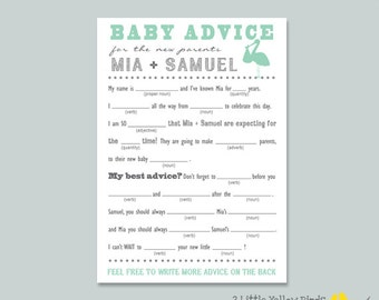Baby Shower Advice Card - MAD LIBS (Stork)