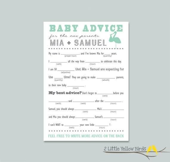 baby shower advice card mad libs stork by 2littleyellowbirds