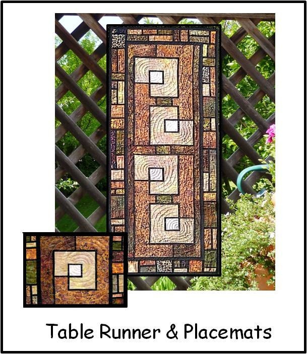 Garden trellis table runner and placemats pdf quilt pattern for Garden trellis designs quilt patterns