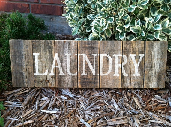 Rustic Wood Laundry Sign made from recycled fencing