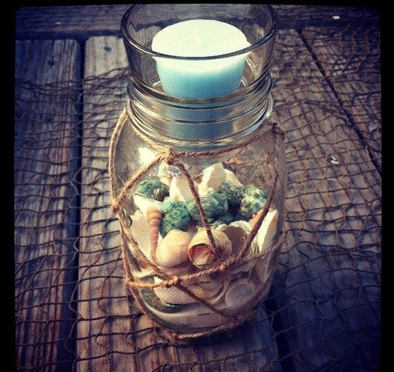 Items Similar To Large Sea Shell Mason Jar Candle Holder