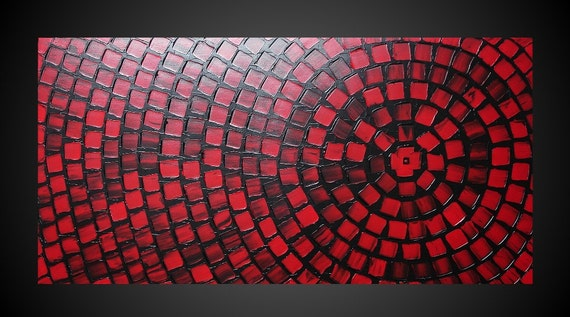 48 x 24 ORIGINAL Abstract Acrylic Painting Art Deco Textured Black Red Squares Modern Ready to Hang FREE SHIPPING