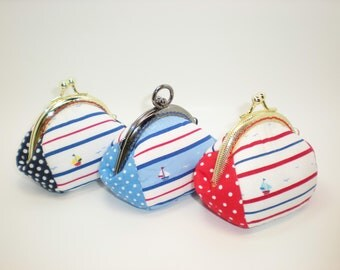 Sailboat  light house red navy stripe  coin/change pouch/purse/wallet w bubble metal frame