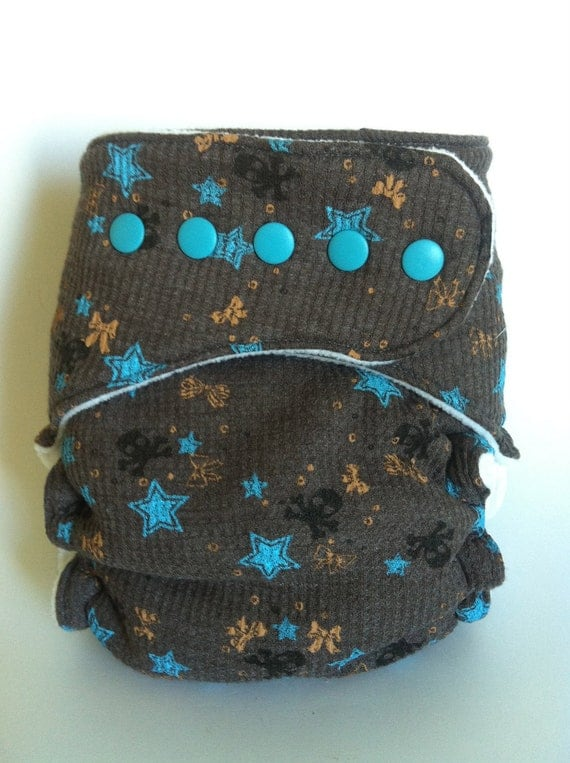 Skulls and Stars Waffle Knit Fitted Cloth Diaper