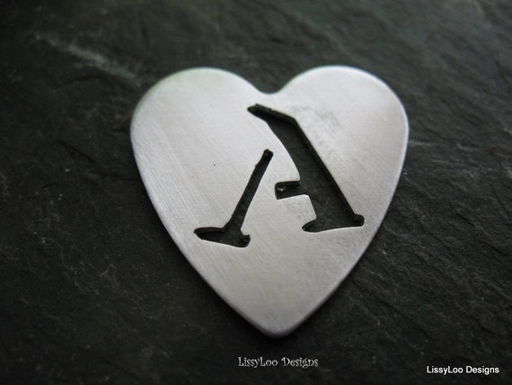 "Heart ""A"" Cut Out Metal Stamping Blank / Hand Stamp Shape Disc / Handstamping Supply / Custom Design Blank"