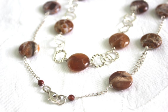 Long Chain Necklace: earthy tone hand wire wrapped long sterling silver round links and brandy opal coin necklaceDesigner Fashion Jewelry