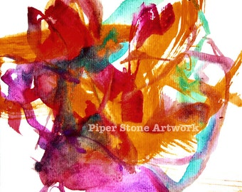 ART BY A DOG, A Gift of Joy Abstract Art Print by Piper Stone The Painting Bulldog, Dog Rescue, Art For Charity, Dog Rescue Awareness