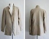 SALE Vintage Jacket Beige Linen Old Antique Costumes Film Special One Blazer Coat 80s Linen Size: Medium - The Vintage Shop Berlin