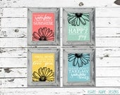 You Are My Sunshine - 8x10 Inspirational Wall Art Prints - Set of 4 - Giclee Illustration Daisy Flower