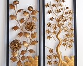 Vintage Flower Wall Hangings - Black and Gold Wall Art - Set of Four