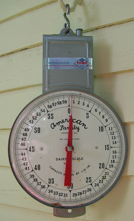 Vintage Hanging Dairy Scale -- American Family -- reserved for N. Nuttall