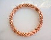 Galvanized Rose Gold Crocheted Bead Roll On Bracelet - Solid Patterned Bracelet,NB-0107, Exclusive Collection