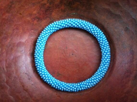 Simple Turquoise Crocheted Beaded  Bracelet - Nepal roll on bracelet