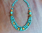 Sleeping Beauty Turquoise necklace with triple strands,  Gold Vermeil, gold filled beads, 18kt gold S clasp