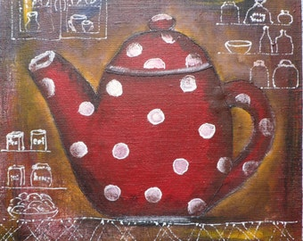 "Original painting acrylic on canvas, tea pot, kettle, rustic kitchen decor, polka dot brown mustard yellow red white 10""x10"""