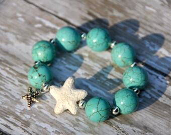 Beachy Turquoise and Starfish Beaded Bracelet