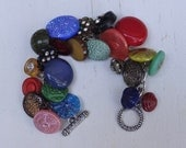 Fantastic Jewel Tone Antique Rhinestone and Glass Button Charm Bracelet