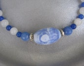 Blue Jean Baby - Blue and White Swirl Agate Focal Bead with Blue Semi-Precious Stones Necklace