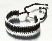 SAVE 50% Link Friendship Bracelet  Silver Plated Black (Similar to Links of London)