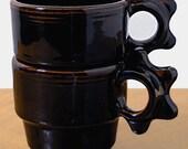 stackable cups sALE Café Black set of 2