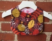 Baby Bib - Mod Baby Girl Fall Leaves in Plum and Pink