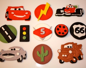 Fondant CARS and FRIENDS RACE Set  -   Cupcake, and Cookie Toppers - 2 Dozen