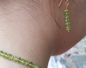 "August Birthstone -Peridot jewelry - 16"" Peridot Necklace and Earrings"