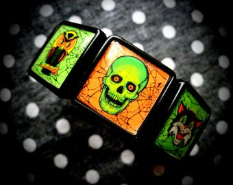 Vintage Halloween collage bracelet