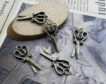 10PCS antique bronze 11x25mm scissors charm pendant- WC595