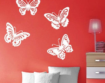 StickTak Stickers Cute Butterflies Vinyl Wall Art Sticker Decal Children- Large or Medium Size