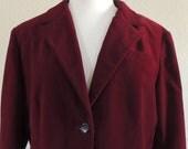 Vintage Burgundy Velvet Blazer by Prestige Size 12 Large