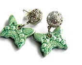 Butterfly Ceramic Earrings Mint Silver Plated Romantic Filigree Post Studs Eco Friendly Summer Lace PatternJewelry
