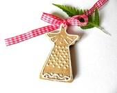 Christmas Ceramic Angel Caramel White Eco Friendly Decoration Recycled Box