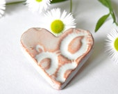 Ceramic Heart Brooch White Rustic Pottery Accessories Silver Pin Recycled Paper Box