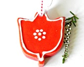 Ceramic Ornament Red Ceramic Tulip White Dots Flower Pottery Home Decoration Cotton Ribbon