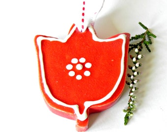 Ceramic Ornament Red Ceramic Tulip White Dots Flower Pottery Home Decoration Cotton Ribbon