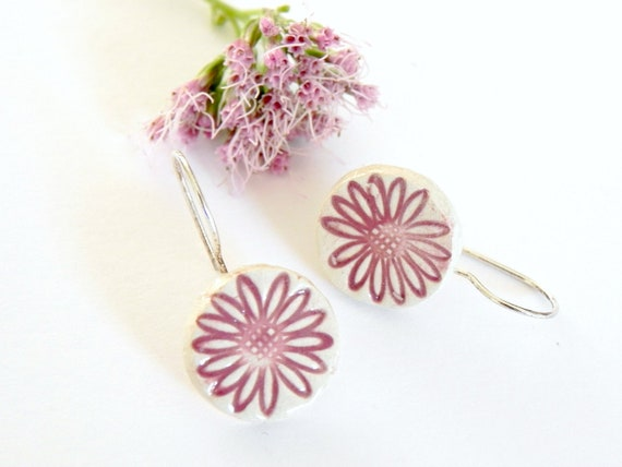 Ceramic Pink Flower Earrings Romantic Everyday Jewelry Circle Pottery