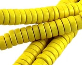 100 pc Nature wood disc beads 8 mm neon yellow