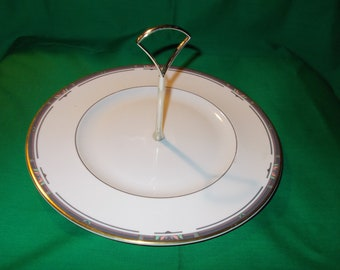 """One (1) 10 1/2"""" Round Serving Plate with Center Handle, by Royal Doulton, in the Musicale H 5131 Pattern"""