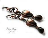Reserved earrings brass smoky quartz