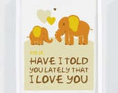 Personalized Baby Elephant Art Print for Nursery or Children's Bedroom Decor