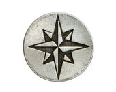 2 Compass Rose Star 3/4 inch ( 18 mm ) Pewter Metal Buttons