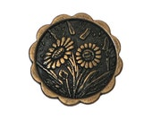4 Daisies 5/8 inch ( 15 mm ) Metal  Buttons Brass Color