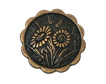 6 Daisies 5/8 inch ( 15 mm ) Metal  Buttons Brass Color
