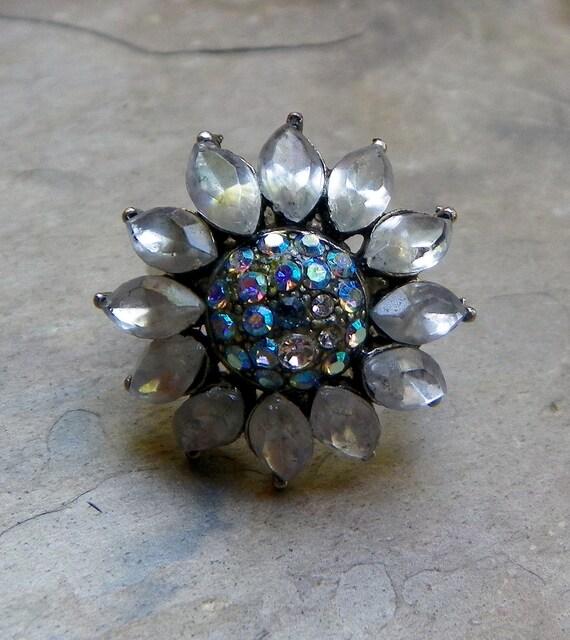 Vintage Winter Crystal Rhinestone Sunflower Ring, Vintage Repurposed