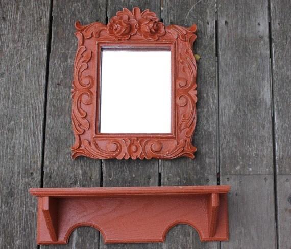 Shabby Chic Distressed Wall Decor  Burnt Orange Mirror and Shelf